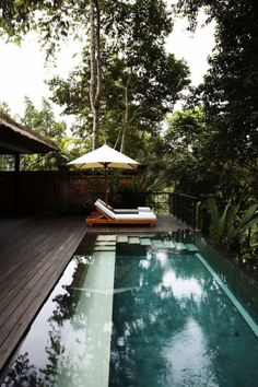 narrow lap pool, with seating ledge, infinity edge, wood decking