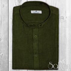 Camicia Uomo Casual Basic Lino Collo Alla Coreana Manica Lunga Slim Fit Verde
