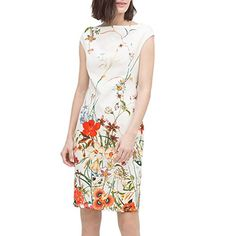 Glorria Women's Summer Wear to Work Slim Fit Print Knee-Length Dresses >>> More info could be found at the image url.