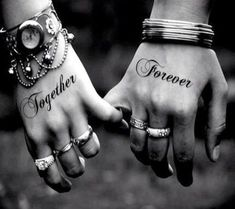A really cute and meaningful couple tattoo. This is probably one of the most popular types of couple tattoos wherein words are inked on couples. You can use your favorite words or phrases and ink them separately to show how perfect they look when combined together