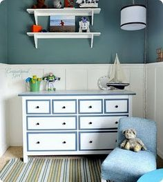 teal and white. Paint our drawers.