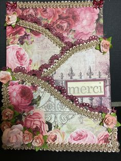 Card made for a friend using a Hearyfelt Creations card base and Prima paper and flowers.
