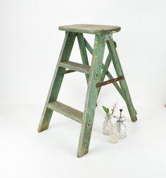 Vintage Teal Green Rustic Wood Step Ladder by tawneyvintage, $52.00