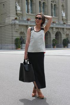 Mango Suit top, DIY Theory dress, Armani sunnies/ Zara tote bag, natural wood & leather wedges