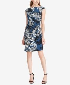 American Living Floral-Print Jersey Dress - Blue 14