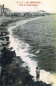 Platja de la Barceloneta, Barcelona 1916. LA BARCELONETA ANTIGUA