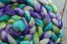 Hand dyed roving 'Mermaid Splendor' LIMITED EDITION colorway 4 oz Superwash Merino/Nylon/Bamboo Panda blend, spinning fiber, blue, green