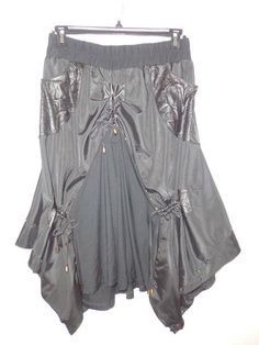 Black Parachute Skirt Goth/Punk~Steampunk~Studds~Ruched Drawstring Faux Leather