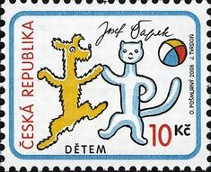Postage stamp - Czech Republic, 2008 - World Children's Day - Illustration from the children's book 'A Dog and a Cat' by Josef Capek (1887-1945)