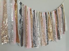 Mixed metallic sequin garland banner with Pink, Grey, White, Ivory, Cream Fabric -Sparkle - Mantel, Wall decor, Valance