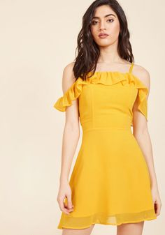 <p>We know you can handle the attitude teeming from this bright yellow dress, but can your friends? Slip into its off-the-shoulder silhouette and see! Offering optional spaghetti straps, a ruffled neckline, and a flirtatiously short length, this look is so sassy and so you.</p>