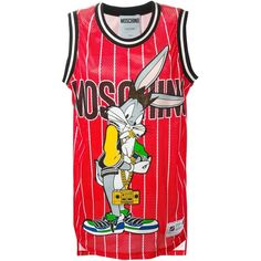 Moschino Bugs Bunny basketball jersey mini dress ($485) ❤ liked on Polyvore featuring dresses, tops, moschino, red, shirts, round neck dress, sleeveless cotton dress, round neck sleeveless dress, short red dress and red sleeveless dress