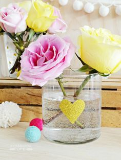 DIY iron on glitter vinyl vase for Valentine's Day
