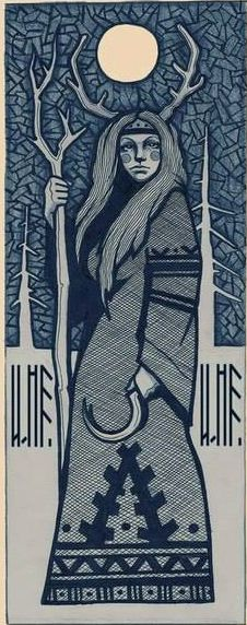 Woodcut of Elen of the Ways depicts her as a lunar goddess with a sickle. Wicca, Goddess Art, Goddess Pagan, Winter Goddess, Pagan Art, Vegvisir, Bild Tattoos, Celtic Mythology, Illustration