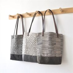 I finally got a chance to post the photos of the other small tote designs - in the triangle and lines pattern, I wanted to let you kn. Custom Makeup Bags, Personalized Makeup Bags, Sac Week End, Custom Tote Bags, Small Tote Bags, Hobo Style, Fabric Bags, Handmade Bags, Handmade Leather