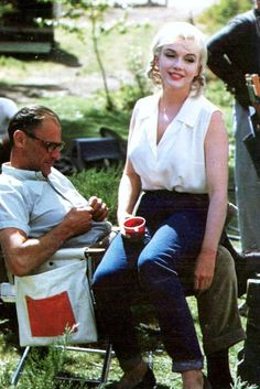 """Marilyn and Arthur Miller on the set of """"The Misfits"""", 1961. Photo by Eve Arnold"""