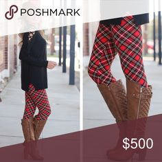 🌟1 Left!🌟Red Plaid Leggings These won't last long.  This pattern is amazing! Perfect for the upcoming holiday season! Gorgeous red plaid leggings. 92% polyester/8% spandex. Comfortably fits sizes 2-12.   FYI: When ordering, pick any size. They are one-size (fitting sizes 2-12) but categorized below by size for search-ability. Don't hesitate to ask for help when ordering! 😀 Infinity Raine Pants Leggings
