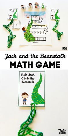 Wnat a fun math game for kids? Try this Jack and the beanstalk counting math game! It's a fun way to practice counting and addition. Preschool Math Games, Math Games For Kids, Alphabet Activities, Kindergarten Math, Math Addition Games, Fairy Tale Activities, Math Patterns, Jack And The Beanstalk, Little Learners