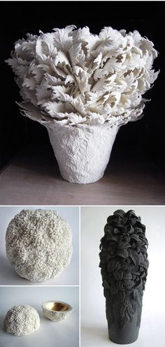 """hitomi hosono 2 - """"The subjects of my current porcelain work are shapes inspired by leaves and flowers. I study botanical forms in the garden. I find myself drawn to the intricacy of plants, examining the veins of a leaf, how its edges are shaped, the layering of a flower's petals. I look, I touch, I draw."""""""