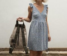 Beige canvas minimalist backpack with zipper Minimal | Etsy
