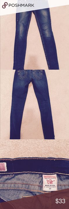 To die for True Religion jeans - size 23 Excellent condition - like new - True Religion skinny jeans - size 23 - amazing fit and so soft - can wear all year round!!!!!  You will love them!!!! True Religion Jeans Skinny