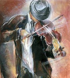 Lena Sotskova/Street Musician OR Violin Art, Violin Music, Street Musician, Music Painting, Art Boards, Abstract Art, Art Gallery, Illustration Art, Collage