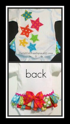 Baby girl appliqued onesie toddler bodysuit by FiestaKidsBoutique
