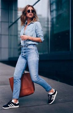 How Style Casual Outfits like a IT Girl: Denim on denim with trending sneakers and classic sunglasses like raybans