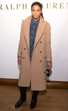 Ciara- The singer attends the Ralph Lauren Polo presentation in a long camel coat over a denim blouse.