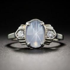 Petite Art Deco Star Sapphire and Diamond Ring - What's New