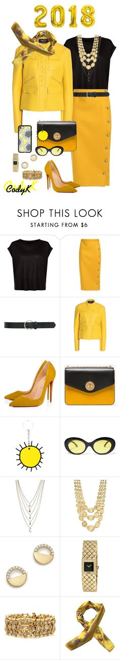 """""""Golden Yellow, Black"""" by cody-k ❤ liked on Polyvore featuring Rochas, M&Co, Christian Louboutin, Bally, Christopher Kane, Crap, Ettika, Marco Bicego, Bloomingdale's and Chanel"""
