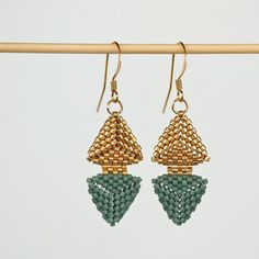 Items similar to Beaded geometric triangle earrings in gold and blue-grey - with miyuki delica beads, plain Double Triangle earrings (ID: on Etsy Turquoise Earrings, Beaded Earrings, Earrings Handmade, Beaded Jewelry, Crochet Earrings, Handmade Jewellery, Gold Earrings, Unique Jewelry, Jewellery Nz