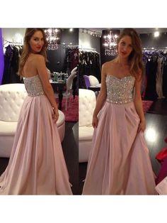 PINK LONG BEADED PROM DRESS, SWEETHEART ZIPPER BACK FLOOR LENGTH PROM DRESSES 2017