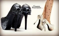 These ZombiePeepshow Purgatory platform heels are hand painted and texturized…