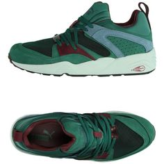 Puma Sneakers ($127) ❤ liked on Polyvore featuring shoes, sneakers, green, green flat shoes, multi color sneakers, puma shoes, round cap and flat shoes