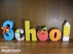 School Letter Set Source by Unfinished Wood Crafts, Wooden Crafts, Wooden Art, Wooden Signs, Wooden Toys, Fall Crafts, Arts And Crafts, Diy Crafts, Holiday Crafts
