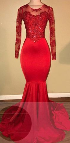 Red Long Sleeve Lace Mermaid Evening Prom Dress on Luulla Long Sleeve Mermaid Dress, Mermaid Prom Dresses Lace, Prom Dresses Long With Sleeves, Lace Mermaid, Dress Prom, Red Long Sleeve Dress, Party Dress, Trendy Dresses, Tight Dresses