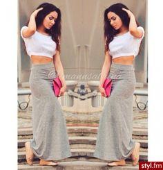 Crop top + Long skirt = Summer 2014