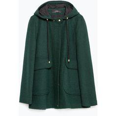 Zara Short Coat (€115) ❤ liked on Polyvore featuring outerwear, coats, bottle green, short coat, green coat y zara coat