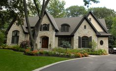 David Small Designs is an award winning custom home design firm. See a portfolio of our Whiteoaks project Dream House Exterior, Exterior House Colors, Exterior Paint, Exterior Design, Stucco And Stone Exterior, Country Style Homes, Cottage Style, French Cottage, French Country Exterior