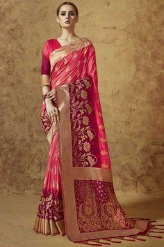 7f3dcf1b8f75c2 Pink Jacquard And Banarasi Silk Saree With Banarasi Silk Blouse -