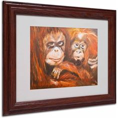 Trademark Fine Art Apes Canvas Art by Judy Harris, Wood Frame, Size: 11 x 14, Multicolor