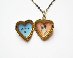 Pug Necklace with Personalized Name  Hand Painted Pug by biribis
