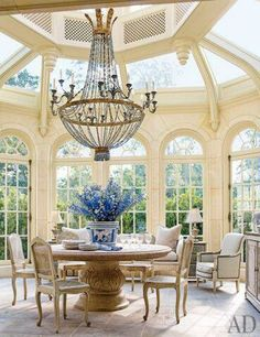 would love having breakfast in this room, each morning- From Architectural Digest