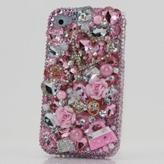 3D Swarovski Diamond Heart Pink Purse Crystal Bling Case Cover faceplate for iphone 4 4S AT Verizon & Sprint (Handcrafted by BlingAngels)