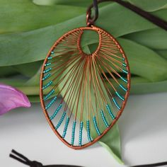 Your place to buy and sell all things handmade - Leaf shaped copper wire wrapped turquoise by DeaJewelryStore - Wire Necklace, Wire Wrapped Earrings, Wire Earrings, Wire Wrapped Pendant, Necklaces, Copper Jewelry, Copper Wire, Wire Jewelry, Beaded Jewelry