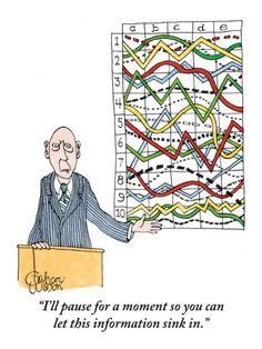 """""""I'll pause for a moment so you can let this information sink in."""" A businessman stands behind a podium, gesturing toward a chaotic chart on the wall behind him. Published in The New Yorker December 6, 2010"""