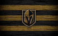 Download wallpapers Vegas Golden Knights, 4k, NHL, hockey club, Western Conference, USA, logo, wooden texture, hockey, Pacific Division