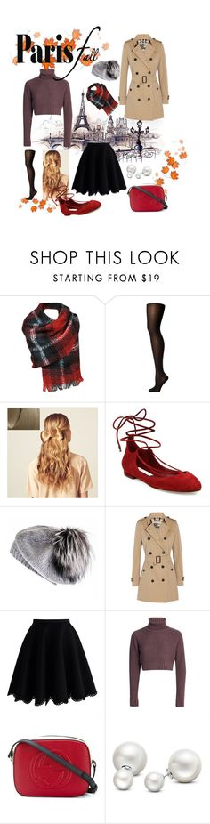 """""""Paris in fall"""" by n-mina4401 ❤ liked on Polyvore featuring Wolford, Hershesons, Diane Von Furstenberg, Black, Burberry, Chicwish, Gucci and Allurez"""