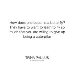 "Trina Paulus - ""How does one become a butterfly? They have to want to learn to fly so much that you..."". inspirational"